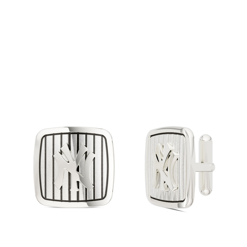 New York Yankees Pinstripe Logo Rounded Cufflink In Sterling Silver