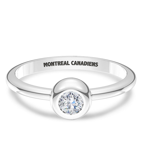 Montreal Canadiens Diamond Engraved Ring In Sterling Silver