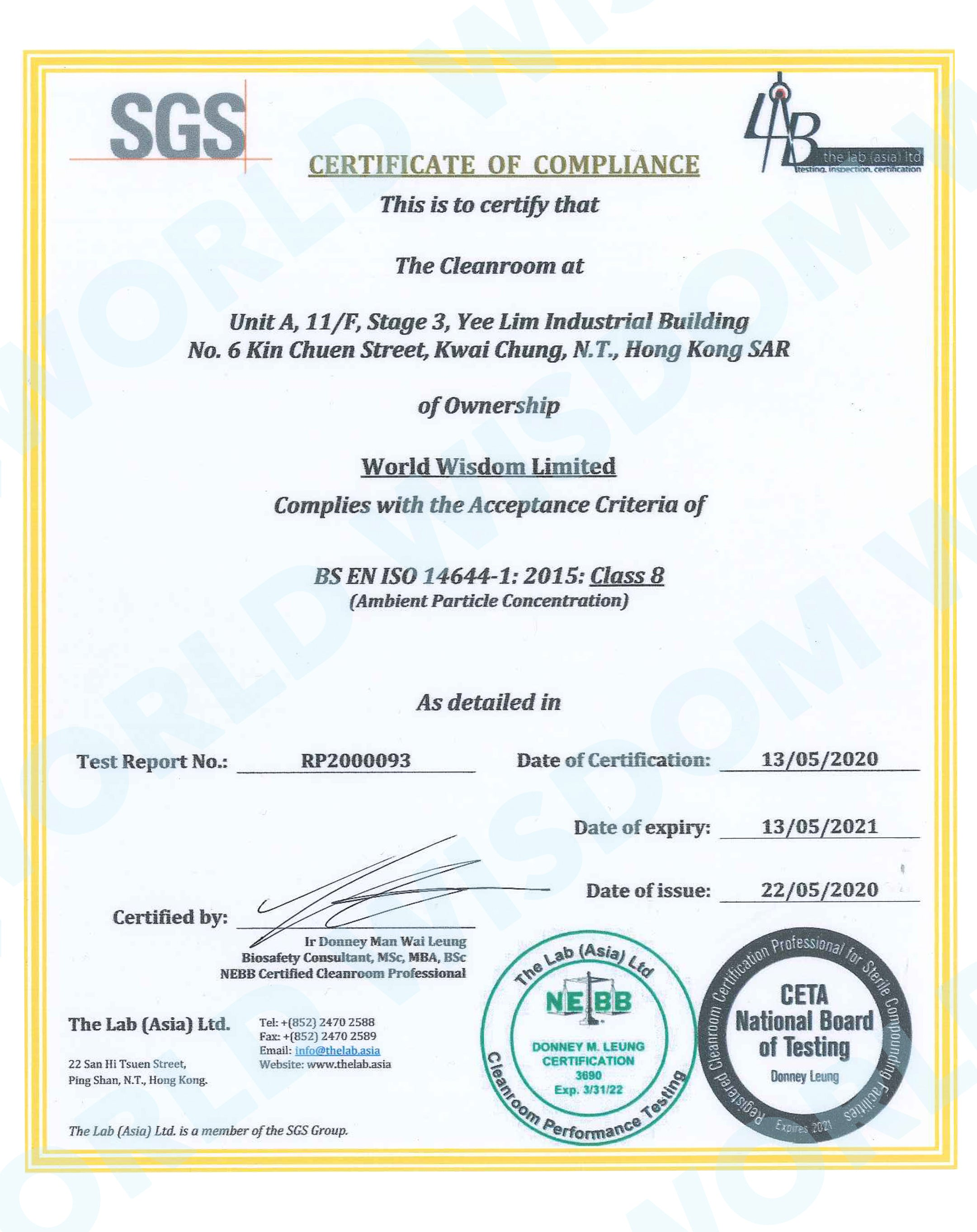 SGS CERTIFICATE ISO 14644-1 CLASS 8