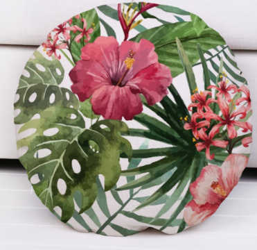 Hibiscus dreaming round cushion.