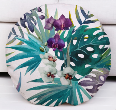 Blue Orchids round cushion.