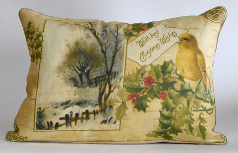 "Christmas Bird Pillow 17x24"" P1192"