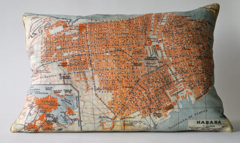 Havana, Cuba Map Pillow P1121