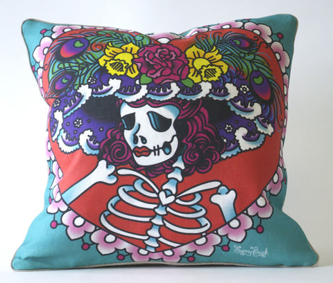 Lady Hat Day of the Dead Pillow P1188