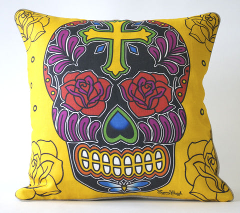 Rose Cross Sugar Skull Pillow P1187