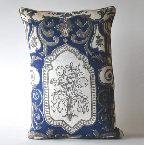 Blue and Silver Filigree Pillow P1013