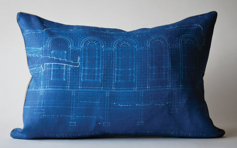 Schoolhouse Blueprint Pillow P1042