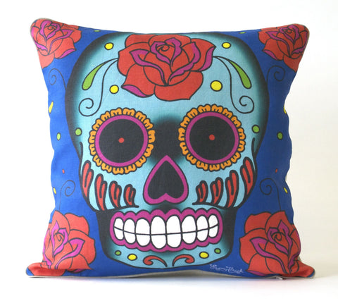 Rose Sugar Skull Pillow P1186