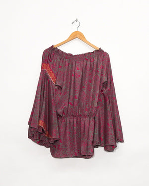 Rose Bell Sleeve Silk Top