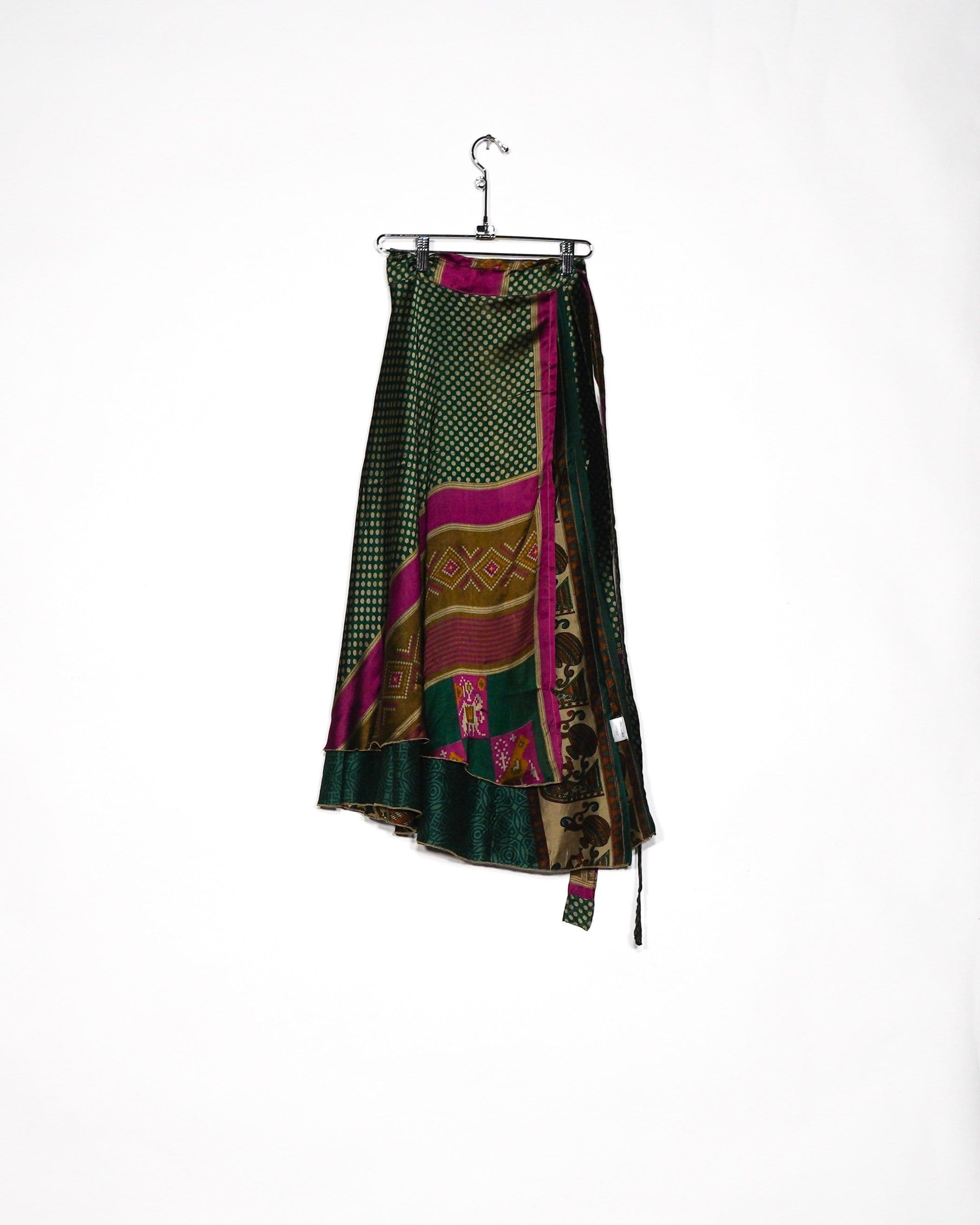 Intricate Green Silk Wrap Skirt