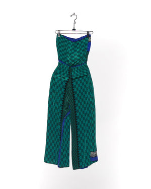 Checkerboard Silk Jumpsuit