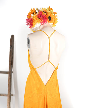 Lemon & Lime Halter Tie Silk Dress