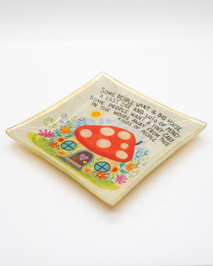 Mushroom House Glass Keepsake