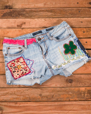 Flowers and Ruffles Jean Shorts