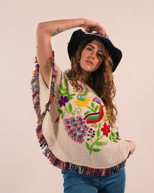 Embroidered Poncho Top