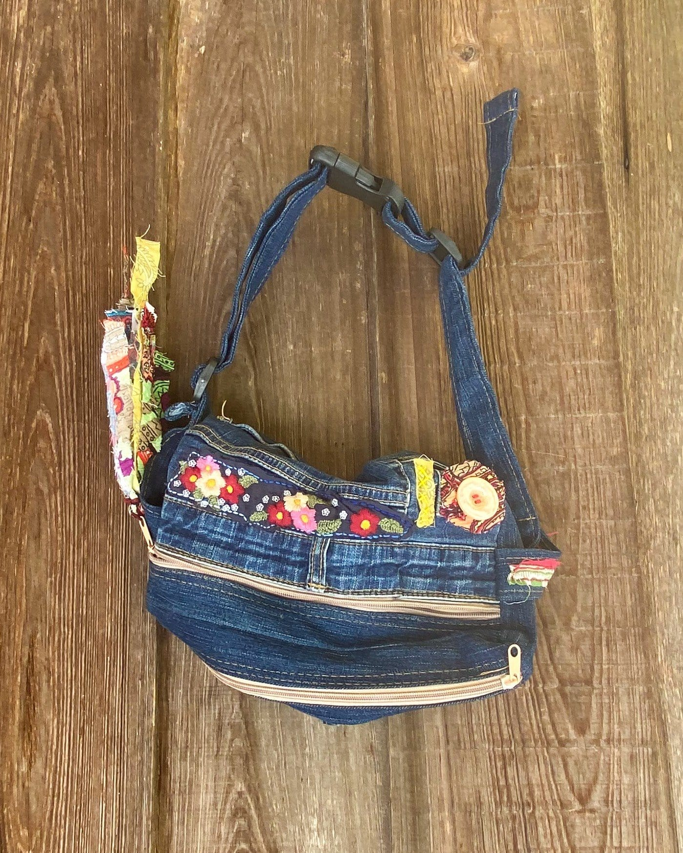 Denim Zipper Patchwork Festival Fanny Pack
