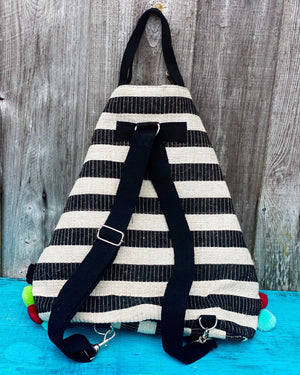 Pom Pom Striped Backpack & Tote