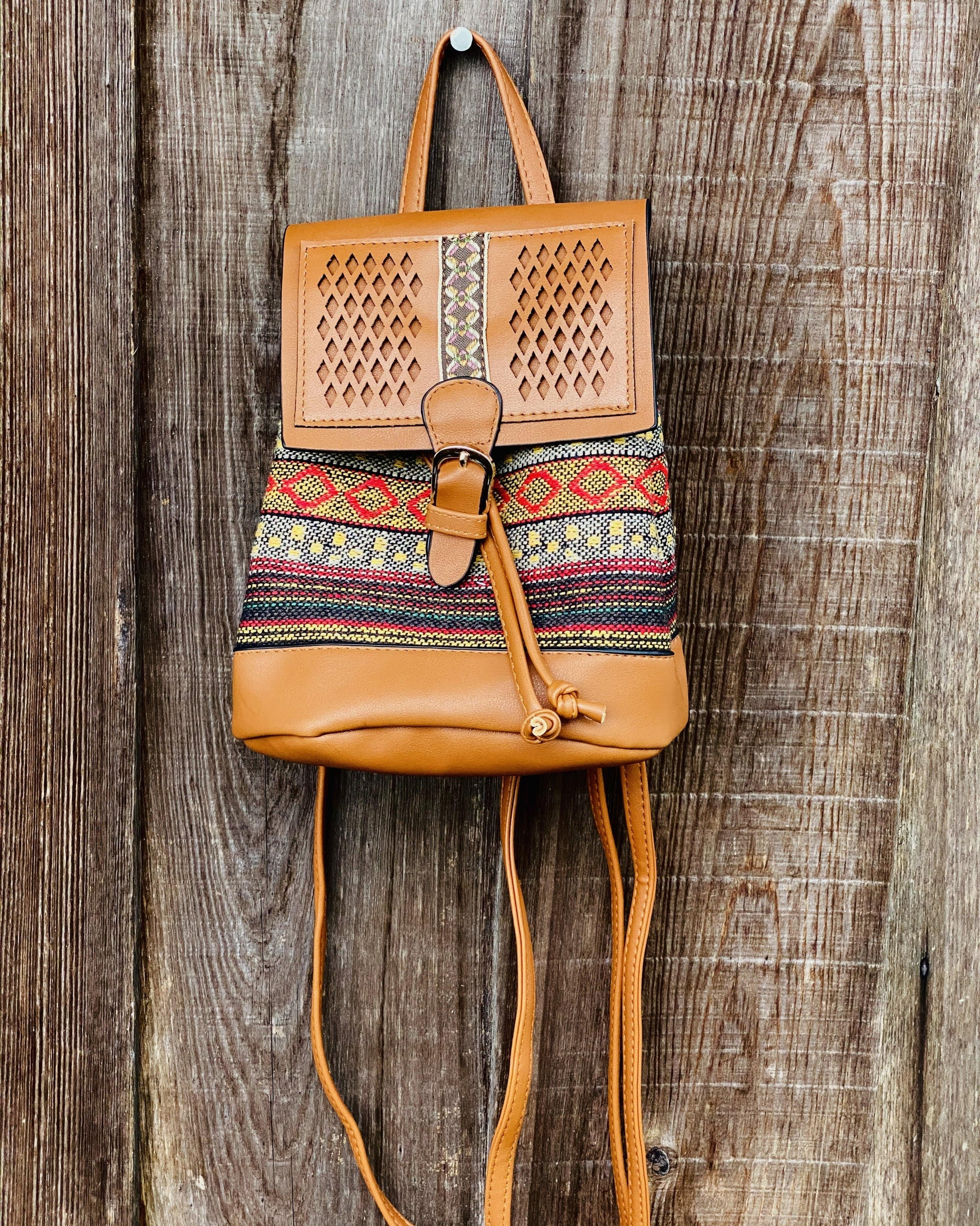 Boho Vegan Leather Backpack
