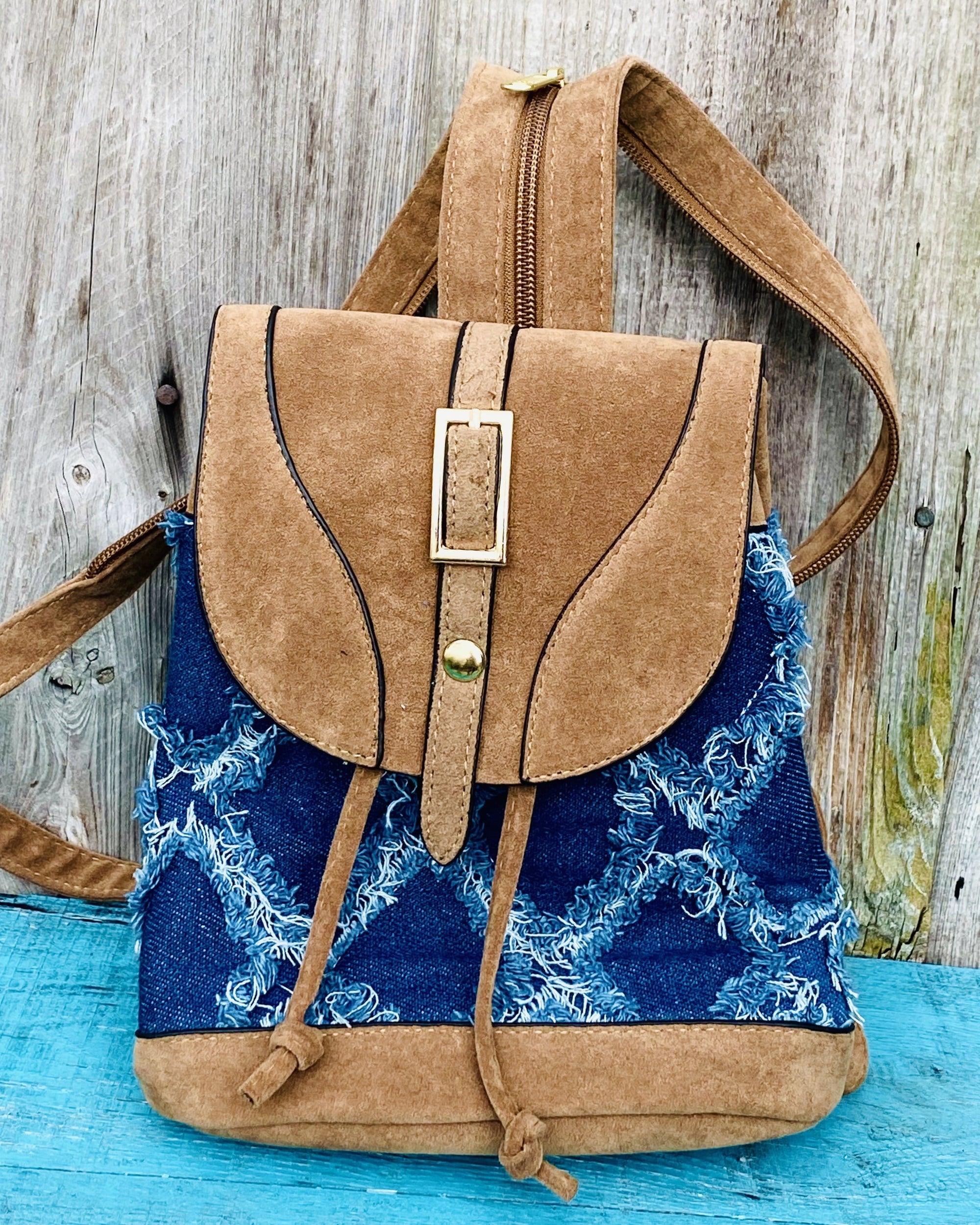 Denim and Vegan Leather Backpack