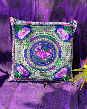 Lilac Embroidered Pillow