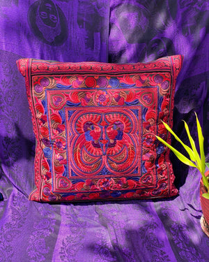 Scarlet Begonia Embroidered Pillow