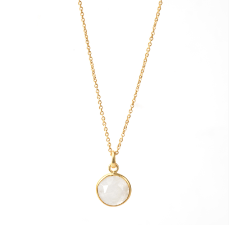 White Chalcedony Round Necklace