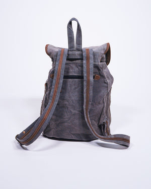 Re-Purposed Military Tent / Leather Knapsack