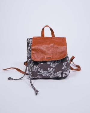 Re-Purposed Military Tent / Leather Floral Backpack