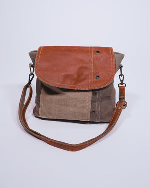 Re-Purposed Military Tent / Leather Shoulder Bag