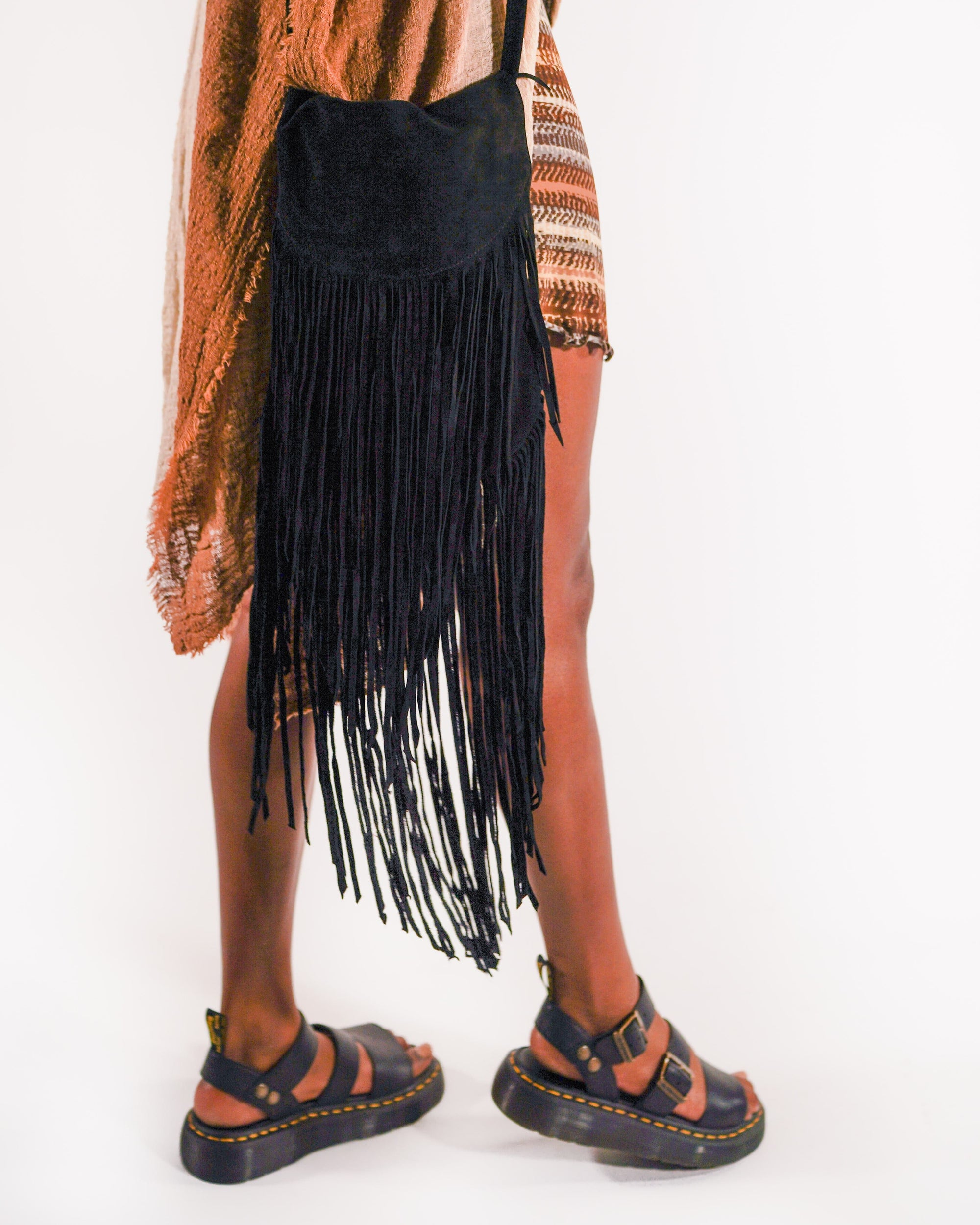 Long Fringed Suede Purse