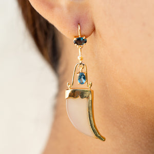 AVANI Gold Faux Tiger Claw Blue Imperial Earring
