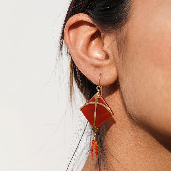 PATANG Carnelian Tassel Earrings