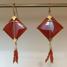 Load image into Gallery viewer, PATANG Carnelian Tassel Earrings