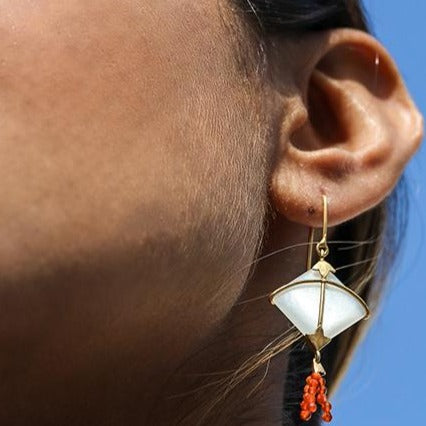 PATANG Moonstone With Carnelian Tassel