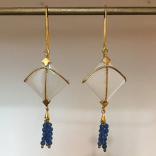 Load image into Gallery viewer, PATANG Small Moonstone WITH Lapiz Lazuli Tassel (Dark Blue)