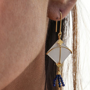 PATANG Small Moonstone WITH Lapiz Lazuli Tassel (Dark Blue)