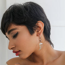 Load image into Gallery viewer, AVANI Silver Faux Tiger Claw Red Lens Earrings