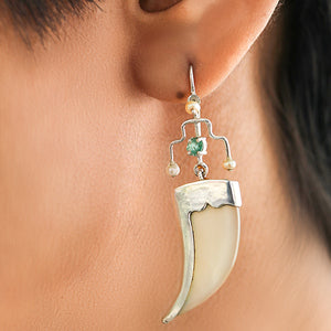 AVANI Silver Faux Tiger Claw Green Royal Earrings