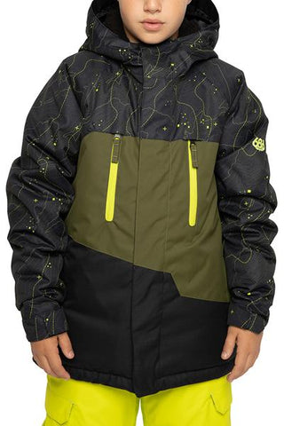 686 BOYS GEO INSULATED SNOWBOARD JACKET - BLACK CONTOUR MAP