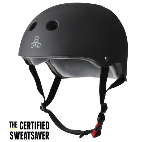 TRIPLE 8 SWEATSAVER CERTIFIED HELMET - BLACK RUBBER