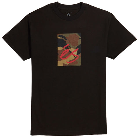 ES MAIN BLOCK CAMO T-SHIRT - BLACK / CAMO PRINT