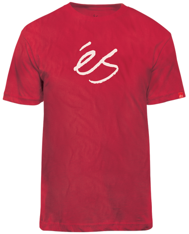 ES MID SCRIPT TECH T-SHIRT - RED WITH PINK LOGO