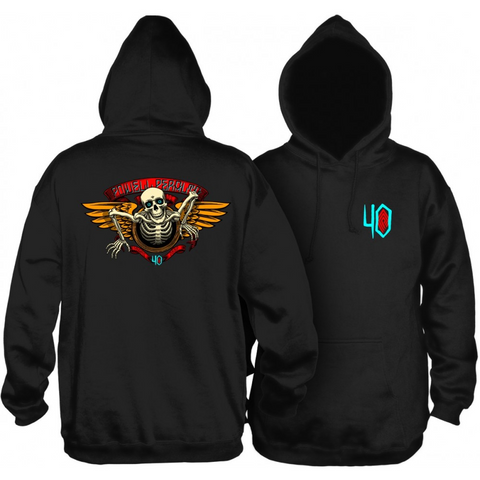 POWELL PERALTA 40TH ANNIVERSARY WINGED RIPPER HOODIE - BLACK