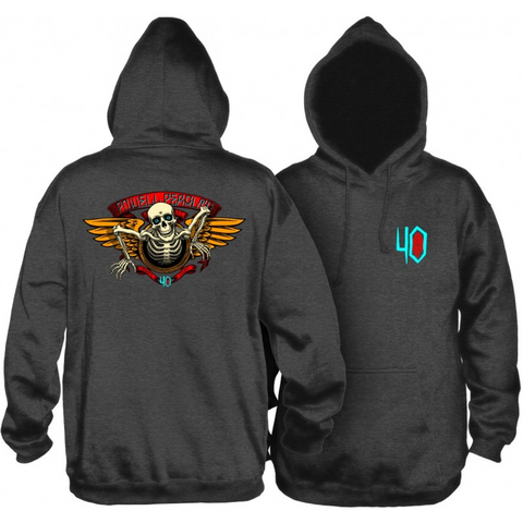 POWELL PERALTA 40TH ANNIVERSARY WINGED RIPPER HOODIE - CHARCOAL
