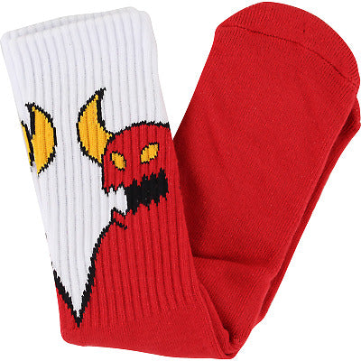 TOY MACHINE SKETCHY MONSTER SOCKS - RED WHITE
