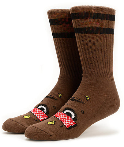 TOY MACHINE POO POO SOCKS - BROWN