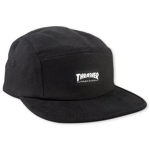 THRASHER 5 PANEL STRAPBACK - BLACK