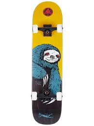 WELCOME SLOTH GOLD/STAIN COMPLETE SKATEBOARD - 7.75""