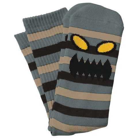 TOY MACHINE MONSTER STRIPE CREW SOCKS - GREY TAN