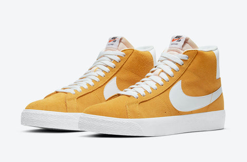 NIKE SB ZOOM BLAZER MID SHOES - UNIVERSITY GOLD / WHITE